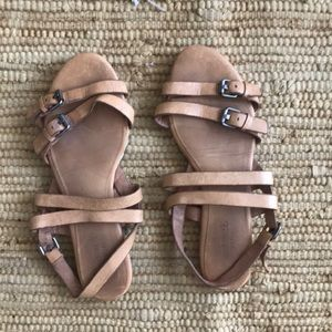 Madewell tan flat straps leather sandals